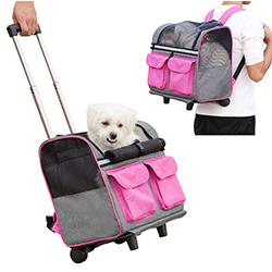 mochila con ruedas para perros